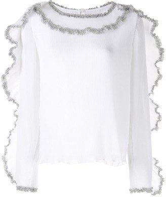 See by Chloe Pleated Georgette Ruffle Blouse
