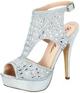 De Blossom Collection Vice-169 Women's Shimmer and Rhinestone Strappy Ankle Strap High-Heel Dress Sandal 7