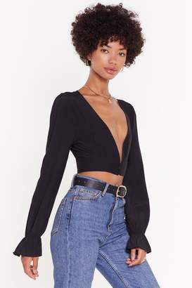 Nasty Gal Womens Don'T Sleeve Me Alone Plunging Cropped Blouse - Black - 6, Black