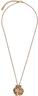 Saint Laurent Gold Seashell Pendant Necklace