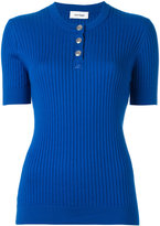 Courreges ribbed knit T-shirt - women - Cotton/Cashmere - 1