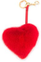 Anya Hindmarch Tassel Heart Bag Charm In Mink Fur, Red