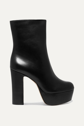 Cult Gaia Kira Leather Platform Ankle Boots - Black