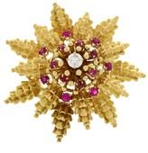 David Webb 18K Yellow Gold, Platinum, Ruby, & Diamond Brooch