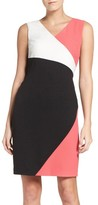 Ellen Tracy Women's Colorblock Luxe Crepe Sheath Dress