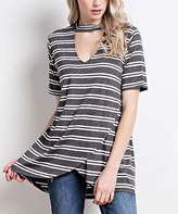 Charcoal & White Stripe Choker-Cutout Tunic