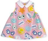 Fendi Sleeveless Monster Eye Swing Dress, Pink, Size 3-9 Months