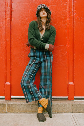 Urban Outfitters Abby Plaid Brushed Wool Trouser Pant