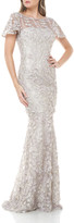 Carmen Marc Valvo 3D Petal Embellished Flutter-Sleeve Mermaid Illusion Gown