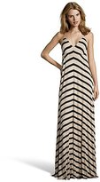 Wyatt camel and black striped jersey v-neck maxi dress