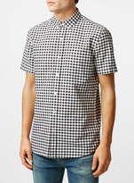 Topman Black/White Gingham Short Sleeve Casual Shirt