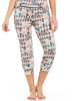 Jasmine & Ginger Feather-Print Cropped Jogger Sleep Pants