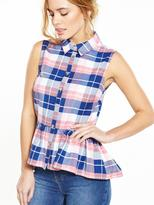 V by Very Petite PETITE Checked Peplum Shirt
