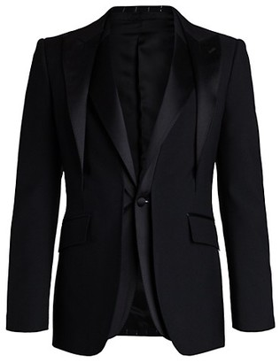 Alexander McQueen Satin Lapel Wool Gabardine Trompe L'ail Tuxedo Jacket