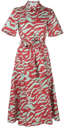 Prabal Gurung Belted Abstract-Print Dress