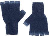 The Elder Statesman Women's Sprayed Fingerless Gloves-Blue