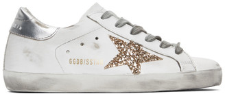 Golden Goose SSENSE Exclusive White and Silver Superstar Sneakers