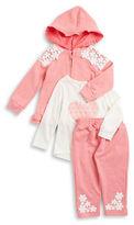 Nannette Baby Girls Crochet Hoodie, Tee and Sweatpants Set