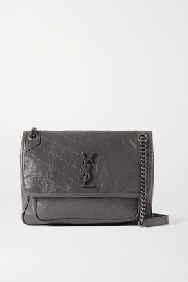 Saint Laurent Niki Medium Quilted Crinkled Glossed-leather Shoulder Bag - Dark gray