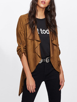 Shein Waterfall Collar Rolled Sleeve Faux Suede Coat