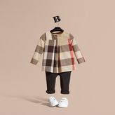 Burberry Collarless Check Cotton Blouse