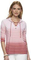 Chaps Women's Striped Dip-Dye Top