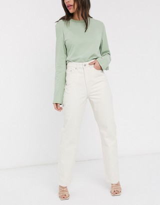 Weekday Row mom jeans with organic cotton in off white