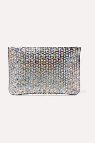 e8551ec13fc Loubiclutch Spiked Glittered Leather Pouch - Silver