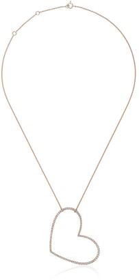 Rosa de la Cruz Rose gold and diamond necklace with large heart charm