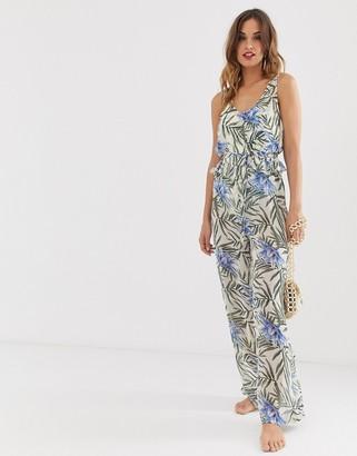 Y.A.S sheer beach jumpsuit in tropical print