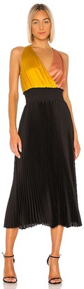 1 STATE Colorblock Pleated Dress