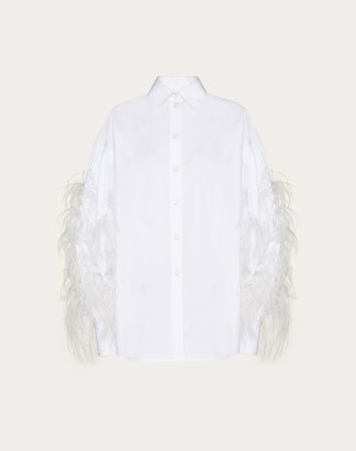 Valentino Feather Embroidery Poplin Shirt Women White 100% Cotone 36