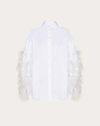 Valentino Feather Embroidery Poplin Shirt Women White 100% Cotone 38