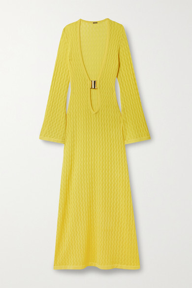 Thumbnail for your product : Dodo Bar Or Lin Pointelle-knit Maxi Dress - Yellow