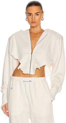 SAMI MIRO VINTAGE V Cut Zip Up Hoodie in White | FWRD