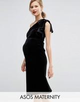 Asos Velvet One Shoulder Ruffle Midi Dress