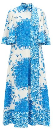 Valentino Delft-print Scarf-neck Silk Midi Dress - Blue White