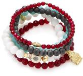 Good Charma Ganesha & Jade Bangle Bracelets (Set of 5)