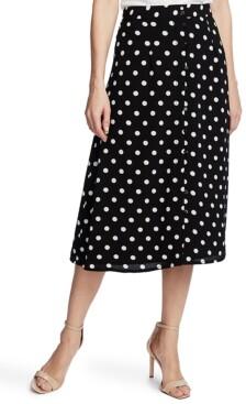 CeCe Disco Dot-Print Midi Skirt