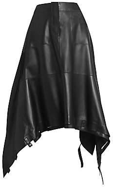 Loewe Women's Drawstring Leather Midi Skirt