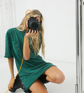 Reclaimed Vintage inspired t-shirt dress with pocket in dark green