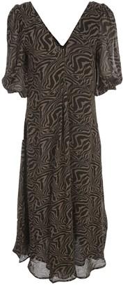Ganni Printed Georgette Long Dress 3/4s V Neck