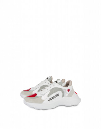 Love Moschino Calfskin And Mesh Sneakers With Hearts Woman White Size 35 It - (5 Us)