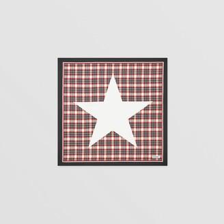 Burberry Star Motif Check Print Silk Square Scarf