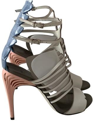 Fendi White Alligator Sandals