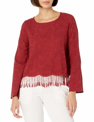 Taylor & Sage Women's Embroidered Bell Sleeve with Fringe
