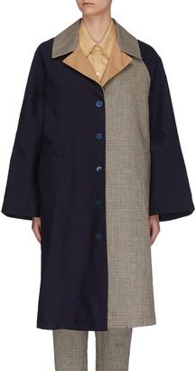 Barena 'Leonia' colourblock check panel coat
