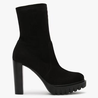 Daniel Alormidable Black Suede Platform Ankle Boots