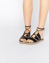 Asos JERSEY ISLAND Tie Leg Espadrille Sandals