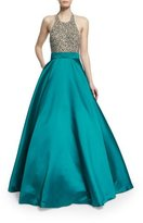 Jovani Sleeveless Sequined Combo Ball Gown